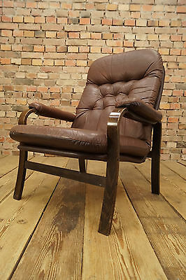 1960s LEATHER CHAIR DANISH LOUNGE LEATHER EASY CHAIR VINTAGE DENMARK ROSEWOOD