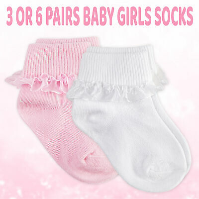 Infant Baby Girls Cotton Frilly Lace Organza Ankle Socks Christening 3 - 6 Pairs