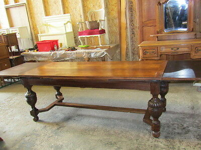 Antique solid oak French extending dining table,10 feet long,seats 10-12