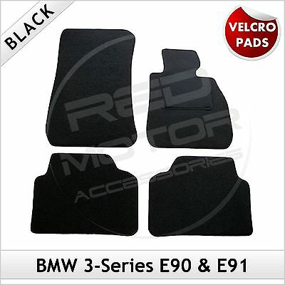 BMW 3-Series E90 E91 2005-2013 Velcro Pads Tailored Fitted Carpet Car Mats BLACK