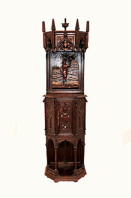 Antique French Gothic Cabinet,Medieval Design Influence Man w/Bird Narrow & Tall