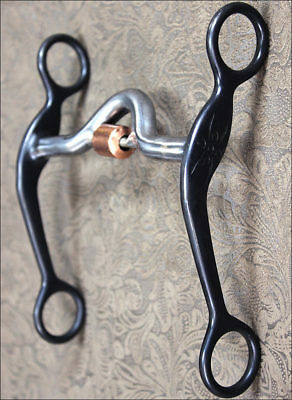 Hilason Black Steel Qtr Horse Bit Medium Port Mouth W/copper Roller