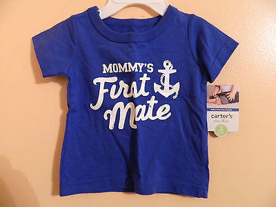 "NWT Carters infant boys short sleeve t-shirt blue w/""mommy's first mate"" sz 3m"