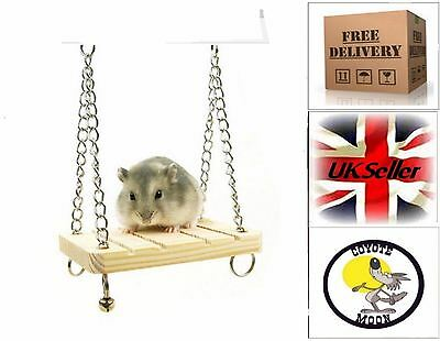Wooden pet Swing Mouse Rat Gerbil  Hamster Bell Suspension Hanging