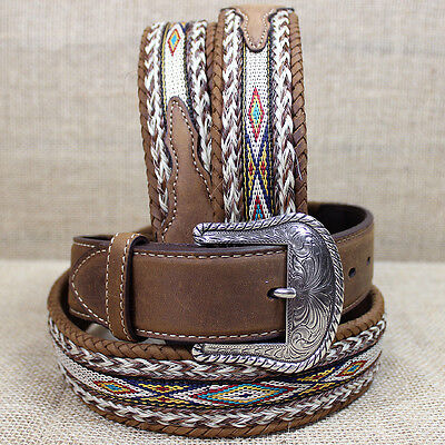 44 inch TONY LAMA BROWN MEN'S BADLANDS HORSE HAIR WITH RIBBON INLAY LEATHER BELT