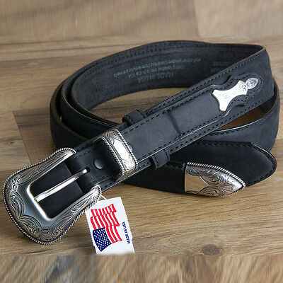 "34"" Brighton Leather Mens Ridgepoint Ranger Belt W/ Silver Plated Buckle Black"