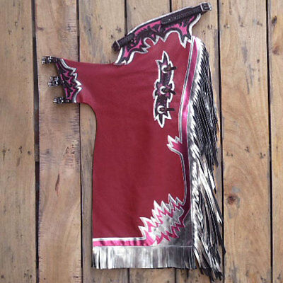 Maroon Genuine Leather Bronc Bull Riding Show Pro Rodeo Western Chaps Hsch207