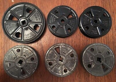 6 x Vintage Metal 16mm Blank / Empty Film Reels, Kodak & E.K.Co, 50ft / 100ft
