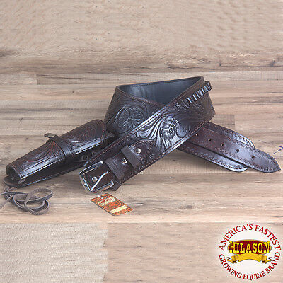 Hilason Western Gun Holster Rig 44/45 Cal Tooled Leather Cowboy Brown Size 40