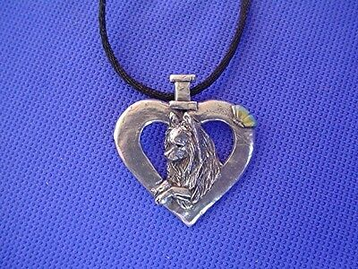 Papillon Butterfly Heart Necklace #50B Pewter Dog Jewelry by Cindy A. Conter