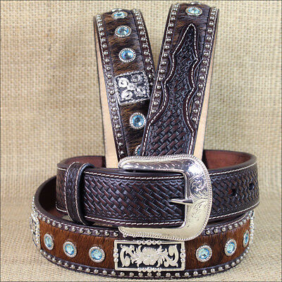 """40 X 1 1/2"""" 3D Brown Mens Blue Crystels Western Fashion Leather Hair On Belt"""