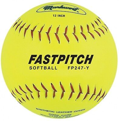 Markwort Fastpitch 30.5cm Softball Yellow Genuine Leather (Dozen). Free Delivery