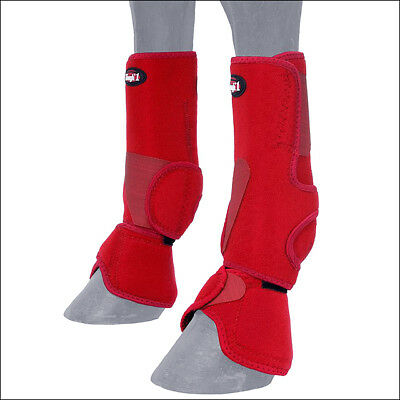 MEDIUM TOUGH 1 HORSE TACK PERFORMERS 1st CHOICE COMBO NEOPRENE LEG BOOTS RED