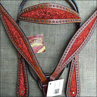 Hilason Western Leather Horse Headstall Bridle Breast Collar Mahogany Red Inlay