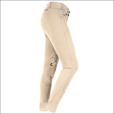 """30"""" Horze Grand Prix Womens Extend Leather Knee Patch Stretched Breeches Brown"""