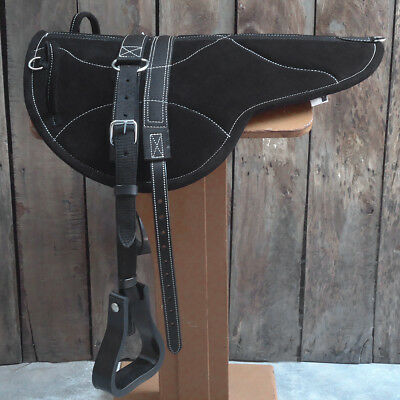 Hilason Natural Horsemanship Leather Bareback English Treeless Saddle Pad Black