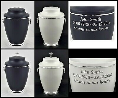 Human Casket Urn Ashes Wooden brass handle Personalised Inscription Memorial