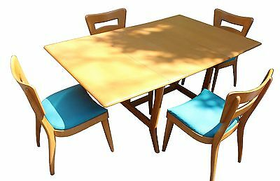 Mid Century Modern Heywood Wakefield Champagne Dropleaf Dining Table & 4 Chairs