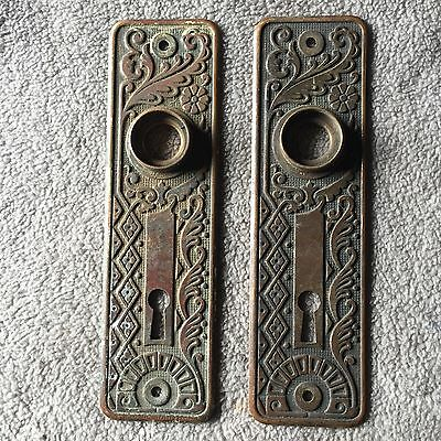 ANTIQUE Pair Of Eastlake CAST Brass Cairo Design BACKPLATES Very Ornate