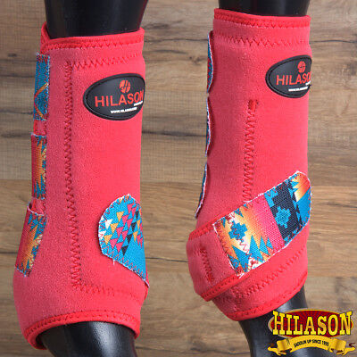 Medium Hilason Red Aztec Horse Front Leg Protection Ultimate Sports Boots Pair