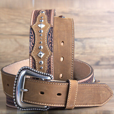 """32"""" Brighton Basketweave Tooled The Bayfield 1 1/2"""" Mens Leather Tooled Tan"""