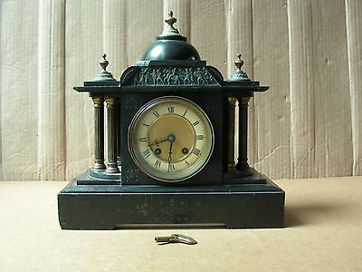 Antique French Black Marble Mantel Clock With Key