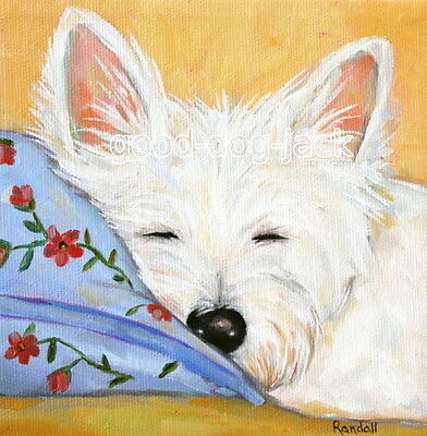 """West Highland Terrier WESTIE MATTED SQUARE PRINT Painting """"SWEET DREAMS"""" RANDALL"""