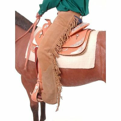Small Tough 1 Suede Leather Equitation Chaps W/ Fringe Sand