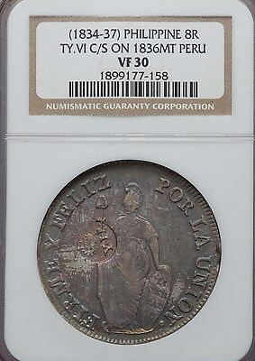 1834 - 1837 Philippines 8 Reales Type VI Counterstamp on 1836 Peru 8R NGC VF 30