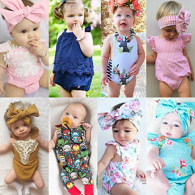 Newborn Baby Girl Summer Floral Bodysuit Romper Jumpsuit Outfits Sunsuit Clothes