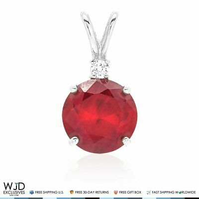 2Ct Created Diamond & Ruby Solitaire Charm Pendant 14k Solid White Gold 0.6""