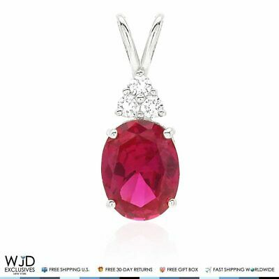 14k White Gold 2.20Ct Created Diamond & Oval Ruby Solitaire Charm Pendant 0.8""