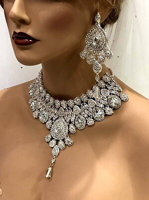 Wedding jewelry set, Clear Crystal bridal bib necklace earrings, Indian Bollywoo