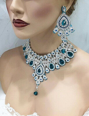 Teal Blue Bollywood Crystal Bridal bib set, Indian Kundan bridal Jewelry sets