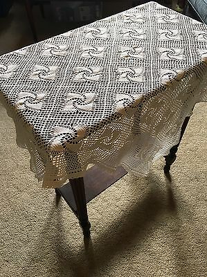 True Vintage Hand Crocheted 90cm White Cotton Square TableCloth Crochet Table