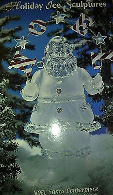 "21"" Holiday Ice Sculpture Noel Santa Centerpiece Lights Up Heritage Mint c137"
