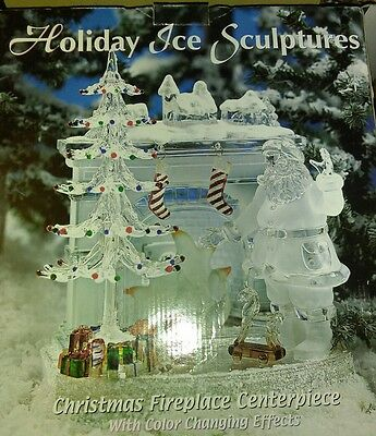 Holiday Ice Sculpture Christmas Fireplace Centerpiece Lights Up Heritage Mint
