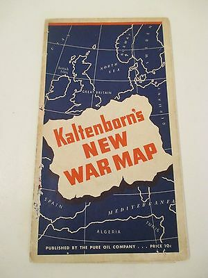 Vintage 1940 PURE OIL KALTENBORN'S NEW WAR Oil Gas Station MAP