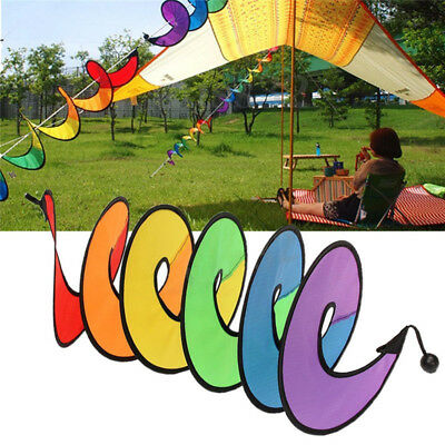 Colorful Rainbow Spiral Windmill Wind Spinner Camping Tent Yard Garden Decor