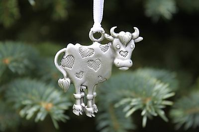 Lead Free Pewter Cow Ornament with hearts Made in Michigan USA holiday gift NEW