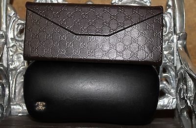 Chanel Black Gold CC Logo & Gucci Brown Triangle Folding Glasses Case LOT SET