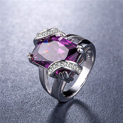 925 Silver Huge Princess Cut Amethyst Gorgeous Women Wedding Ring Size 6-10
