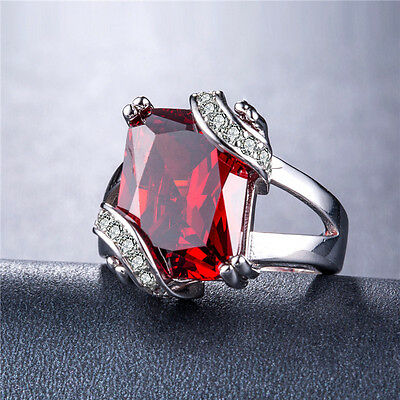 925 Silver Huge Princess Cut Garnet Gorgeous Women Wedding Ring Size 6-10