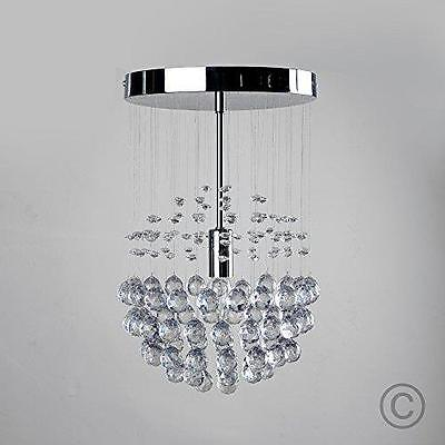 Modern Chrome Ceiling Light Hanging Lamp Shade Pendant Chandelier Droplets Beads
