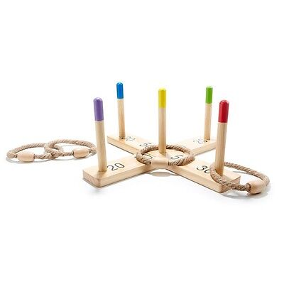 Wooden Outdoor Quoits - Ring Toss Game Toy Pegs + Hoopla Outdoor