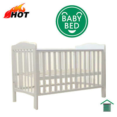 New Solid Wood Baby Toddler Cot Bed Roma White