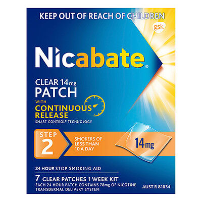 ~ Nicabate Clear 14Mg Patch 7 Clear Patches 1 Week Kit Step 2 Quit Stop Smoking
