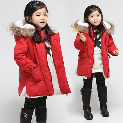Kid Girl Coats Fur Hooded Warm Solid Snowsuit Red Thick Cashmere Jacket Outwear