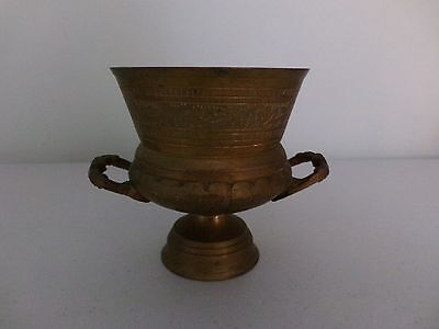 Brass Pot / Vase With Side Handles Great Vintage Condition  Needs A Clean