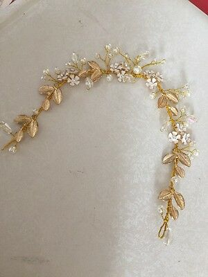 Gold Wire Leaves Diamante Ivory Pearl Hair Vine Wire   Wedding Accessories